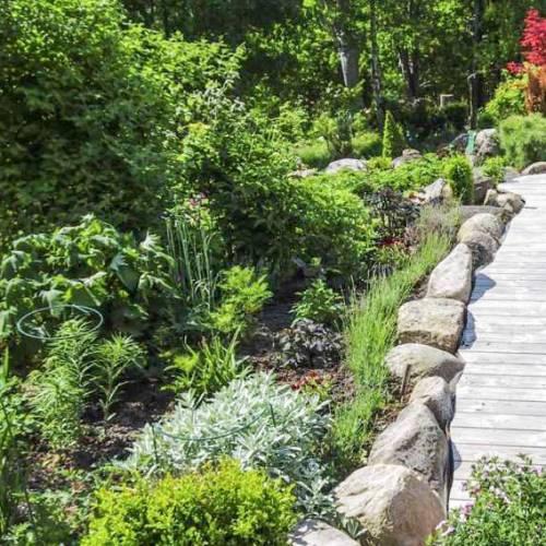 bordures-de-jardin-pierres-naturelles-allée-lattes-bois-grisâtre